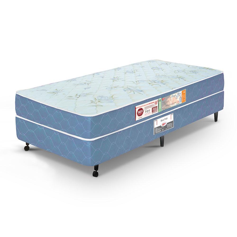 Cama box + colchão Solteiro Castor Espuma D45 Sleep Max 18cm Azul 78