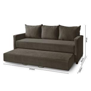 Sofa Cama com auxiliar com opção de elevação Dubai Tabaco A09