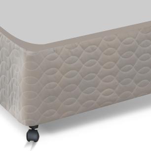 Cama box Queen Size para colchão Castor Pocket Class bege