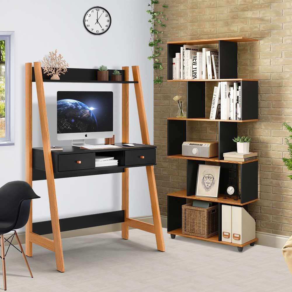 Escrivaninha Com Estante Para Livros Preta Nature Innovare Office Desk