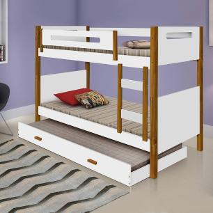 Beliche solteiro com cama auxiliar + 3 colchões e grade de proteção Divaloto Heloisa Branco e mel