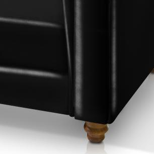 Poltrona chesterfield capitonê corino para sala art estofados viena preta