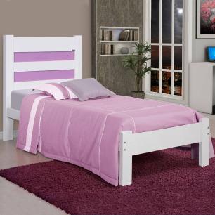 Cama solteiro de madeira maciça com colçhão Lara Atraente Branca com lilas