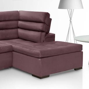 Sofa de Canto retratil e reclinavel com chaise Porto Vinho A89