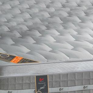 Cama box + Colchão Casal Castor Premium Gel One face Prata 128 x 188 x 72