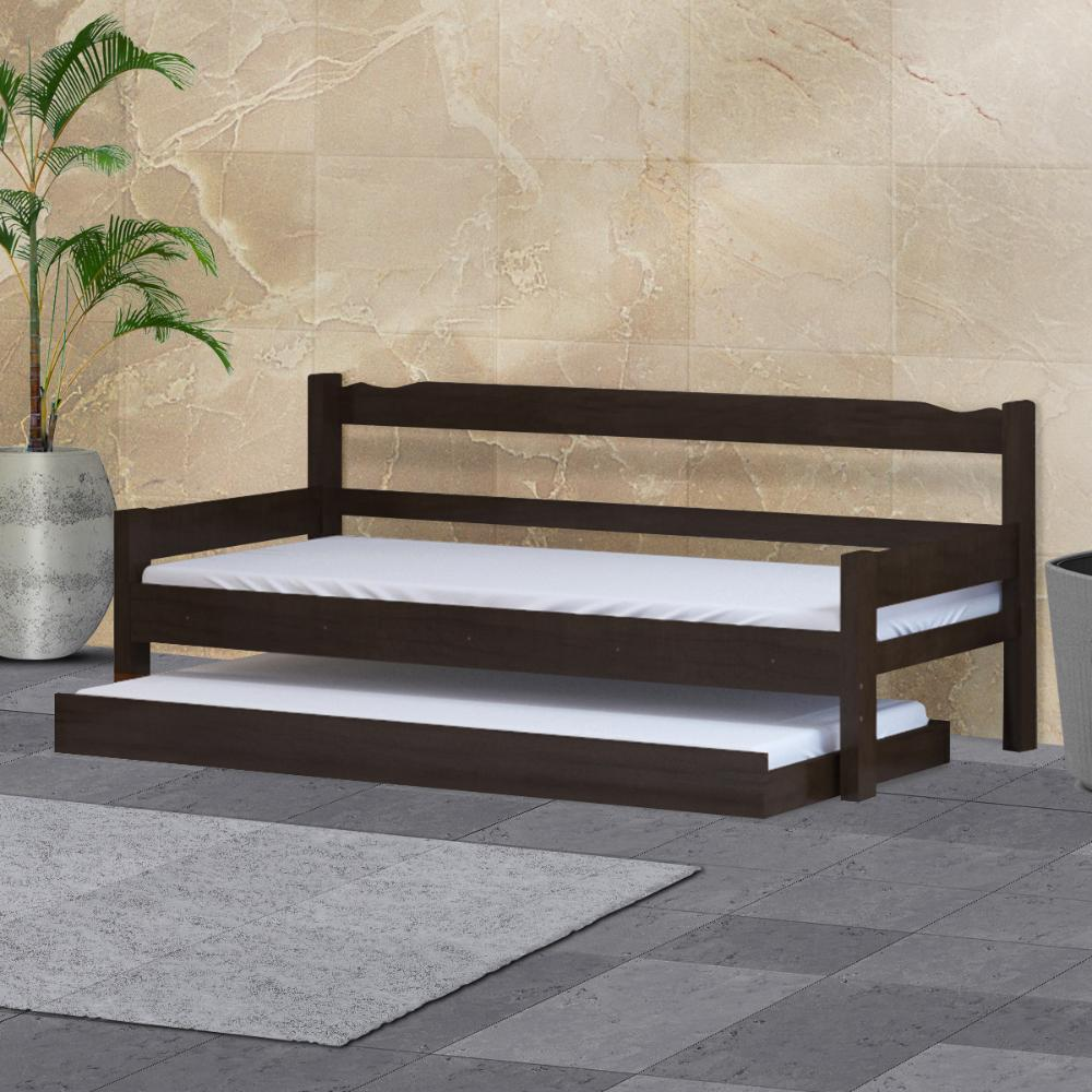 Sofá cama solteiro de madeira maciça com cama auxiliar Nemargi Tabaco