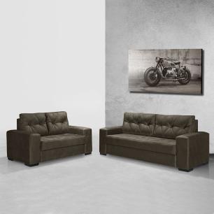 Sofa 2 e 3 Lugares Florença Sued Animale Marrom