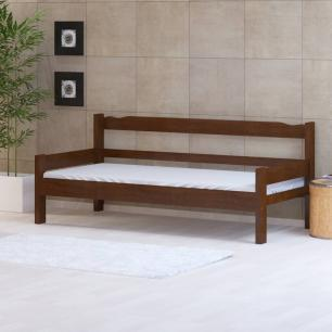 Sofá cama solteiro de madeira maciça com colchão Nemargi Castanho