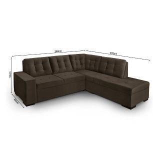 Sofa de canto com chaise Roma Cafe A91