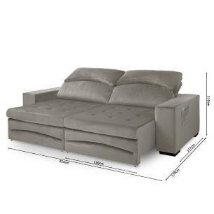 Sofa retratil e reclinavel 2 Lugares Veneza Cinza A75
