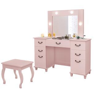 Penteadeira Camarim com espelho banqueta e led Luapa Móveis Seul Rosê