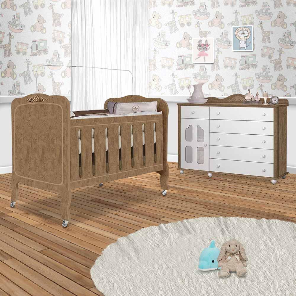 Quarto Completo De Bebê Berço E Cômoda Branco Amêndoa