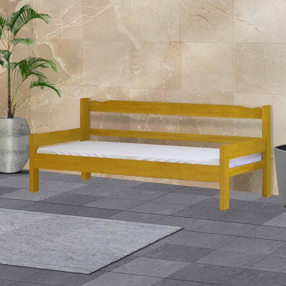 Sofá cama solteiro de madeira maciça Nemargi Cerejeira