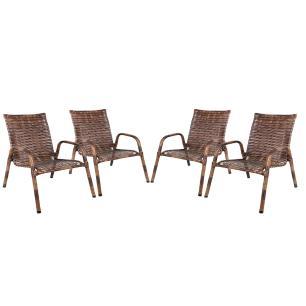 Kit 4 Cadeiras De Junco Para Varanda