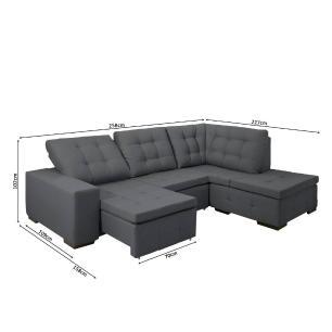Sofa de Canto retratil e reclinavel com chaise Moscou Cinza B81