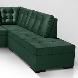 Sofa de canto com chaise Roma Verde A90