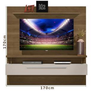 Painel para TV de até 65 polegadas New Caju 1.7 Linea Brasil Avelã Off White