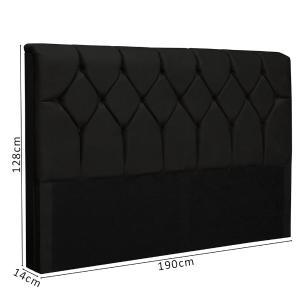 Cabeceira King Size com capitonê para cama box sued liso Paris Preto