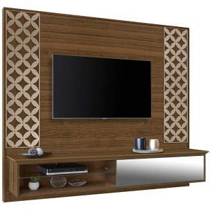 Painel Para Tv Com Espelho Suspenso Arménia Amêndoa/Off white