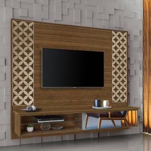 Painel Home para TV Luapa com espelho Roma Amendoa / Off White