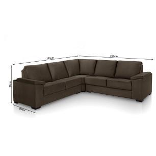 Sofa de canto 4 lugares almofadado Turim Café A91