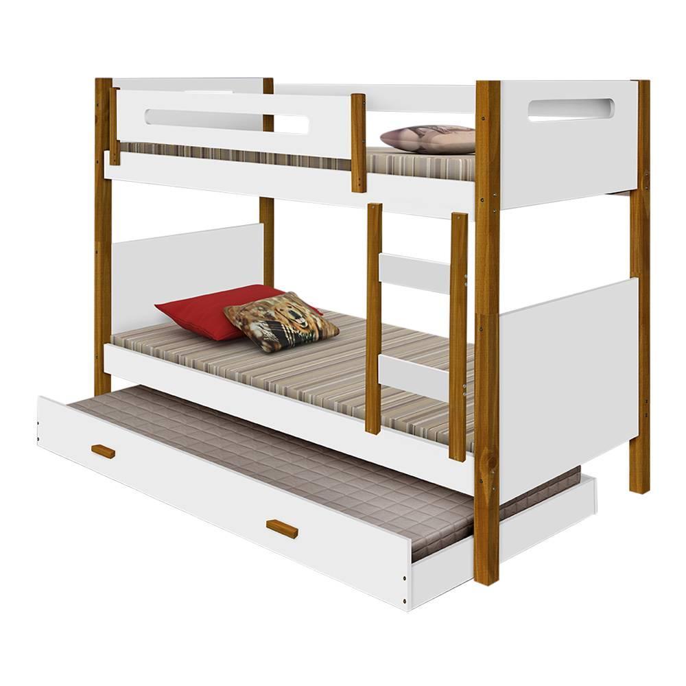Beliche solteiro com grade de proteção e cama auxiliar Divaloto Heloisa Branco e mel