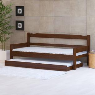 Sofá cama solteiro de madeira maciça com cama auxiliar Nemargi Castanho