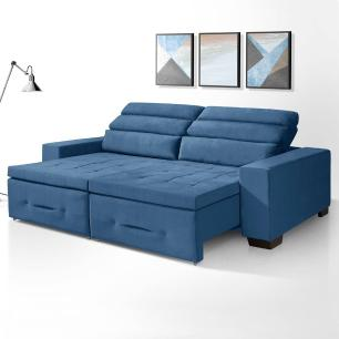 Sofa retratil e reclinavel 3 lugares Barcelona Azul A92