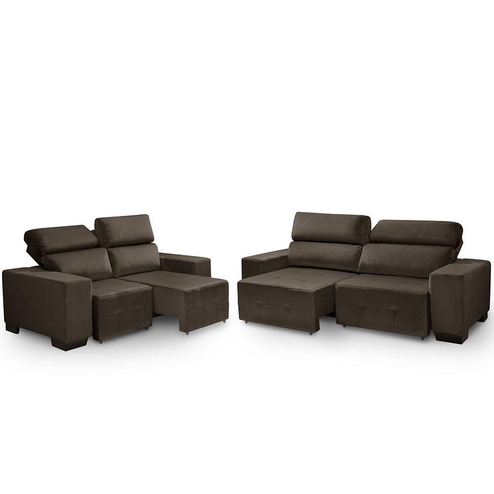 Sofa retratil e reclinavel 2 e 3 lugares Viena Café A91
