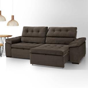 Sofa retratil e reclinavel 2 lugares Liverpool Marrom Escuro A102