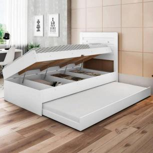 Cama baú com cama auxiliar Larissa Framar Branco