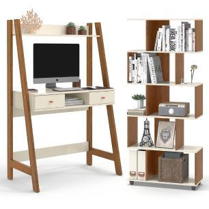 Escrivaninha Com Estante Para Livros Off White Freijó Innovare Office Desk