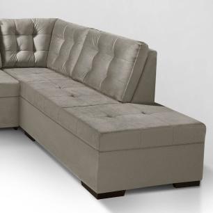 Sofa de canto com chaise Roma Cinza A75