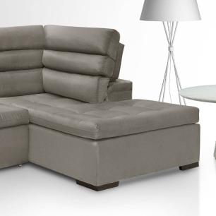 Sofa de Canto retratil e reclinavel com chaise Porto Cinza A75