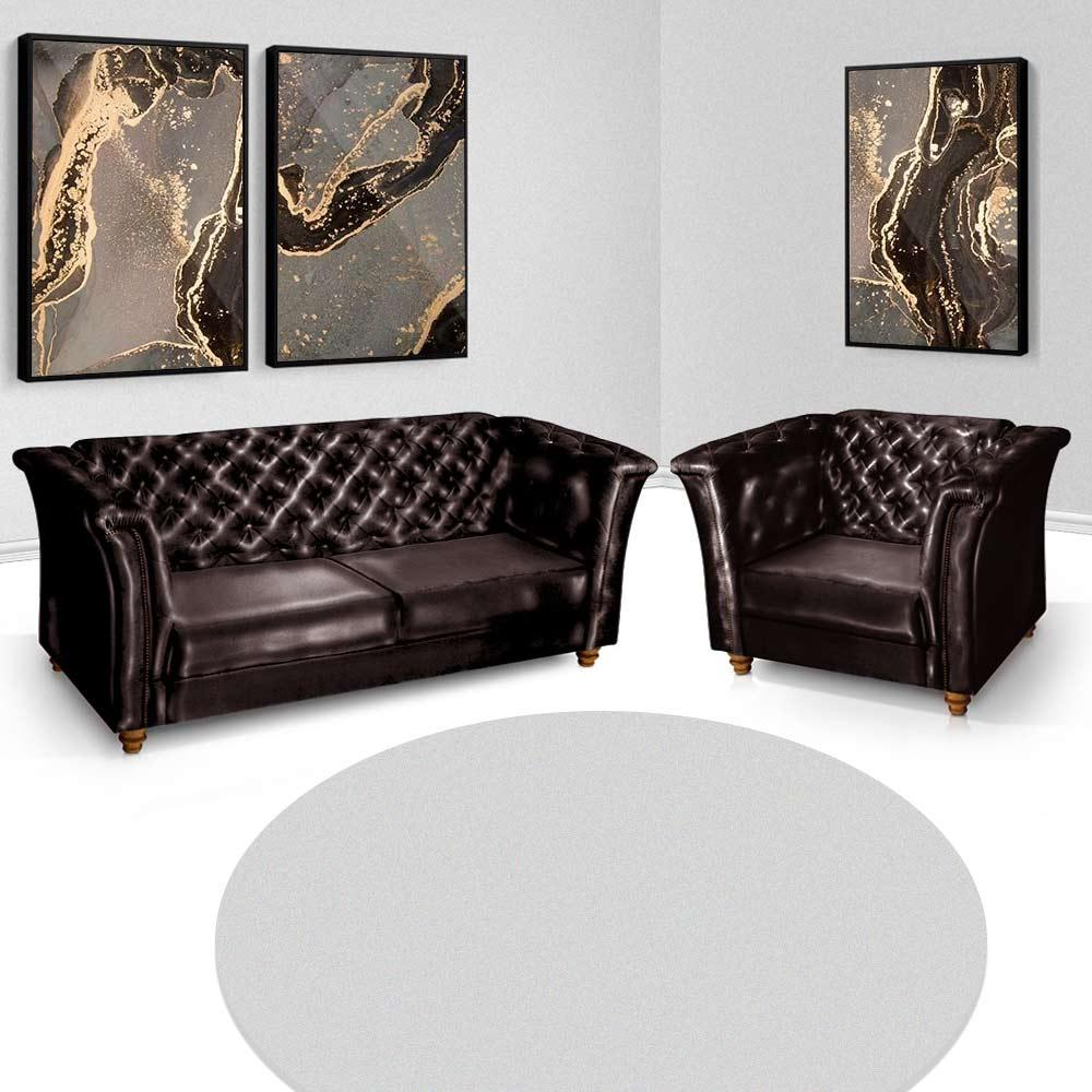 Sofá + Poltrona Decorativa Chesterfield Capitone Art Estofados Portinari Corino Marrom
