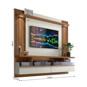 Painel para tv com Led e Espelho São Luís 2.2 Off White Nogueira