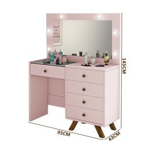 Penteadeira camarim com espelho e led Luapa Móveis Luna Rosê
