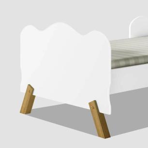 Cama juvenil infantil com pés em madeira e barras onduladas Angel branca