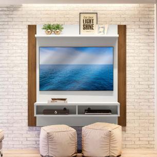 Painel Para TV com nichos reforçados Capri Off White Nogueira