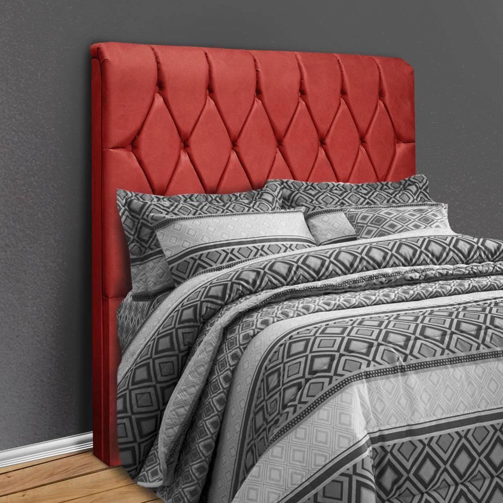 Cabeceira solteiro com capitonê para cama box sued liso Paris Vermelho