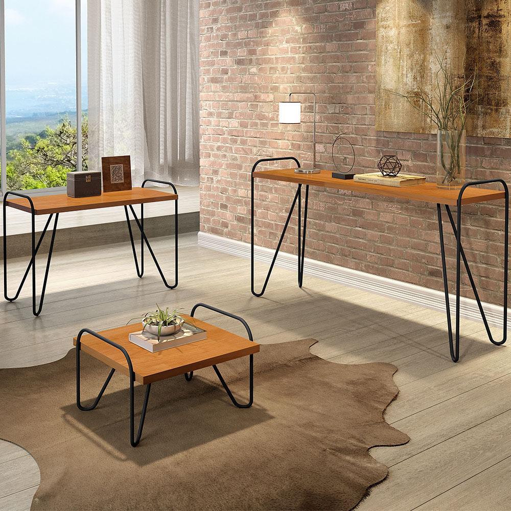 Conjunto de mesa Aparador + Centro + Lateral pés em metal tubular 100% MDF Genova Naturale