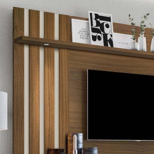Painel De Tv Para Sala Suspenso Com Led Alemanha Amêndoa/Off White