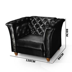 Sofá + Poltrona Decorativa Chesterfield Capitone Art Estofados Portinari Corino Preto