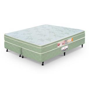 Cama box + Colchão Queen Size Castor Espuma D33 Sleep Max 65cm Verde