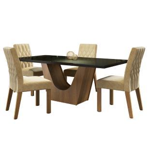Conjunto Sala de Jantar Madesa Hadassa Mesa Tampo de Vidro com 4 Cadeiras