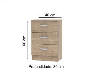 Mesa de Cabeceira Madesa com 3 Gavetas