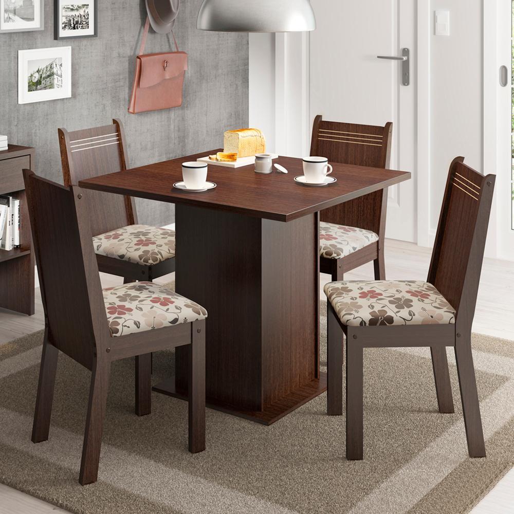 Conjunto Sala de Jantar Madesa Kate Tampo de Madeira com 4 cadeiras