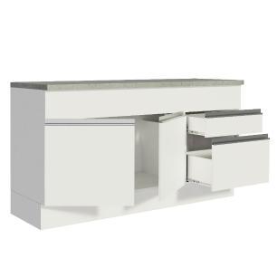 Balcão de Pia Madesa Glamy 150 cm 2 Portas e 2 Gavetas (Com Tampo) - Branco