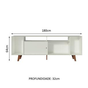 Rack para TV até 65 Polegadas Madesa Cancun com Pés - Branco/Rustic/Branco