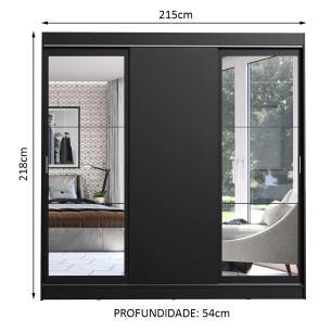 Guarda-Roupa Casal Madesa Istambul 3 Portas de Correr com Espelhos 3 Gavetas - Preto